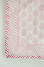 Load image into Gallery viewer, Summer quilt dohar lightweight muslin cotton voile quilt, block printed three layers, rose pink fern print on white with striped border.
