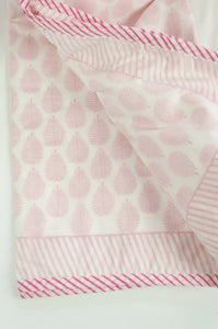 Summer quilt dohar lightweight muslin cotton voile quilt, block printed three layers, rose pink fern print on white with striped border.