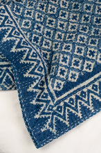 Load image into Gallery viewer, Block printed in indigo, blue and white kantha quilt hand made in Jaipur, featuring two tone checks and crosses pattern and decorative border.