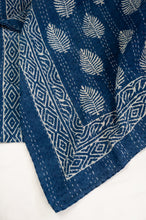 Load image into Gallery viewer, Block printed in indigo, blue and white kantha quilt hand made in Jaipur, featuring palm pattern and decorative border.