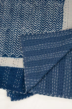 Load image into Gallery viewer, Block printed in indigo, blue and white kantha quilt hand made in Jaipur, featuring chevron pattern and plain blue and white border.