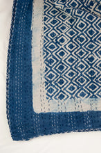 Load image into Gallery viewer, Block printed in indigo, blue and white kantha quilt hand made in Jaipur, featuring diamond pattern and plain blue and white border.