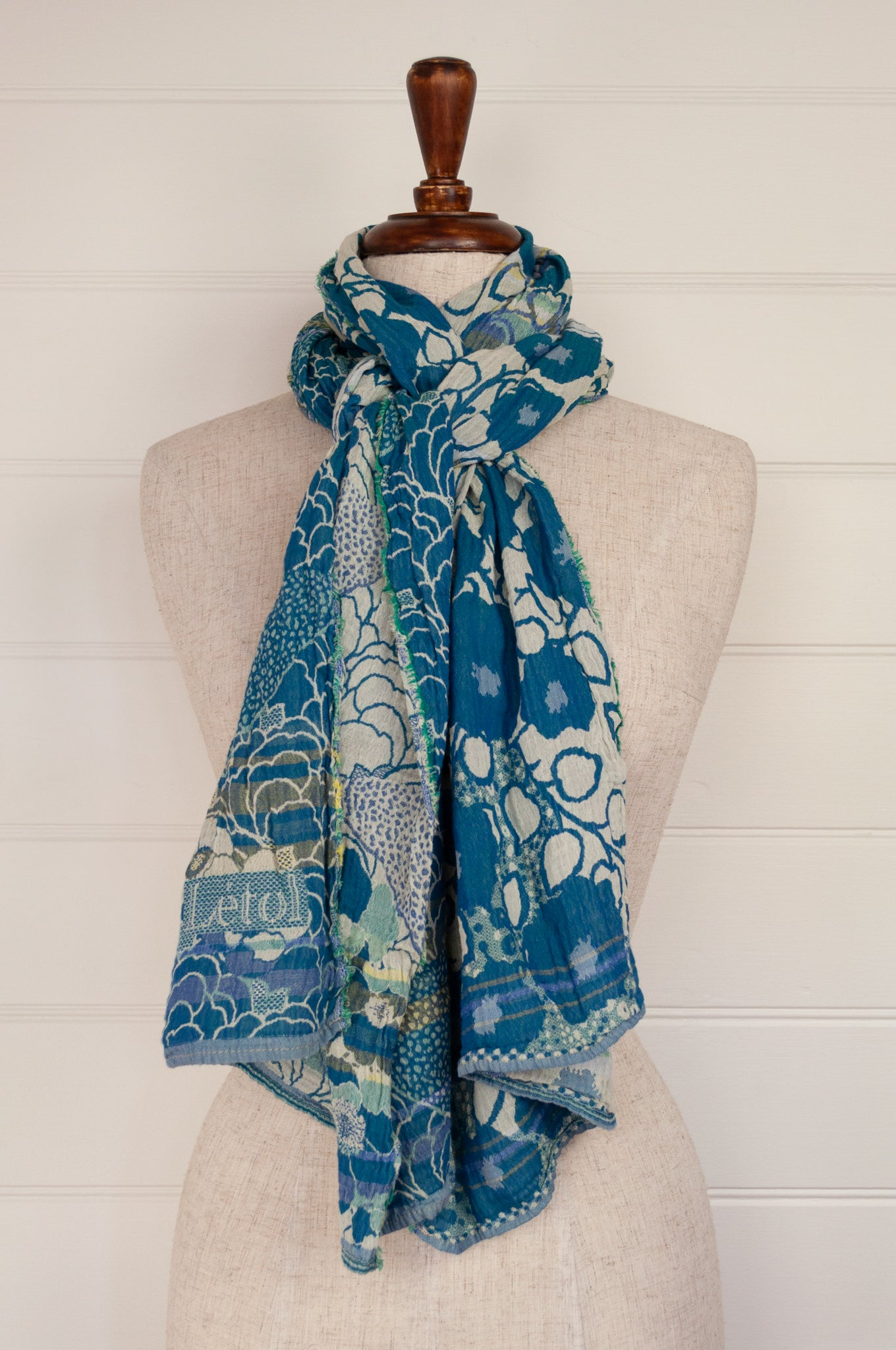 Made in France organic cotton jacquard scarf from Letol, Samantha in cyan brilliant blue turquoise.