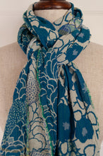 Load image into Gallery viewer, Made in France organic cotton jacquard scarf from Letol, Samantha in cyan brilliant blue turquoise.