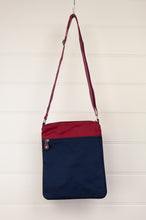 Load image into Gallery viewer, Anna Kaszer Paris Arev handbag, compact portrait orientation in cotton canvas and poly canvas in deep red, navy with red white blue print and orange details.