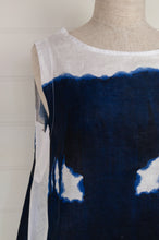 Load image into Gallery viewer, Banana Blue made in Australia 100% linen sleeveless tunic in indigo drip print on white.