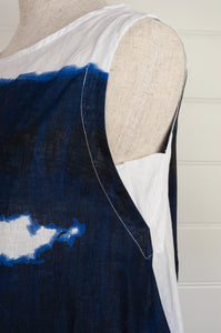 Banana Blue made in Australia 100% linen sleeveless tunic in indigo drip print on white.