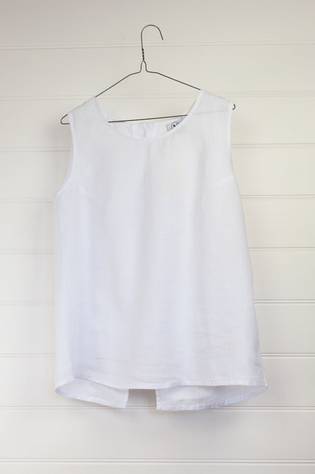Valia Made in Melbourne button back sleeveless white linen top.