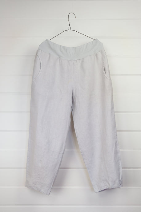 Valia made in Australia European linen pants in silver grey, elastic waist and side pockets.