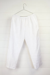 Valia made in Australia European linen 3/4 three quarter pants in white, elastic waist and side pockets.