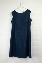 Load image into Gallery viewer, Valia Kate dress, sleeveless navy linen round neck at front, V at back waist shaping and A-line skirt.