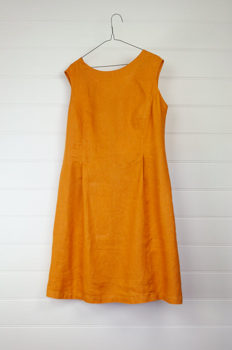 Valia Kate dress, sleeveless deep yellow linen round neck at front, V at back waist shaping and A-line skirt.