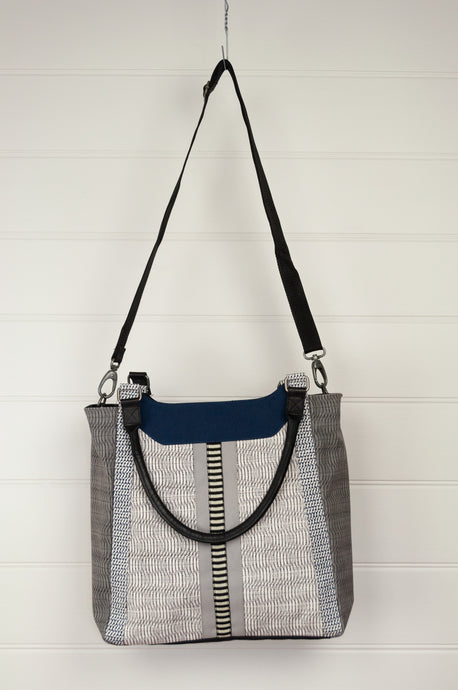 Anna Kaszer Paris Dayzi tote bag with double handle and detachable shoulder strap, print cotton canvas in navy, white and charcoal, with black poly canvas reverse.