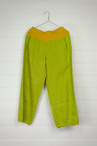 Valia made in Melbourne linen Sydney pants in limeade, lime green.