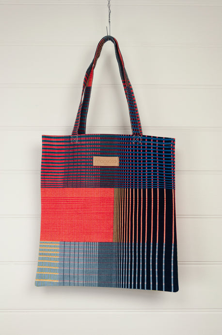 Ma Poesie cotton canvas tote bag, designed in Paris, made in India, checks and stripes in navy, pink, blue and yellow.