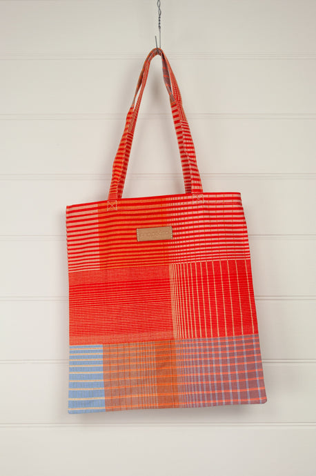 Ma Poesie cotton canvas zippered tote bag in Gradient print in orange and pink stripes and checks.