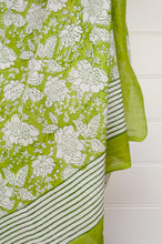 Load image into Gallery viewer, Cotton voile sarong, block printed by hand. Fresh white flower on a lime green base.
