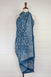 Cotton voile sarong, block printed by hand. Crescent shapes in white on a natural indigo base.