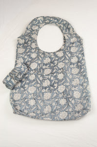 Juniper Hearth block print reusable rollable shopping eco bag, blue grey and white floral pattern.