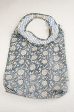 Load image into Gallery viewer, Juniper Hearth block print reusable rollable shopping eco bag, blue grey and white floral pattern.