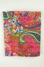 Load image into Gallery viewer, Handstitched cotton kantha quilt, a colourful paisley on a deep pink background, with highlights in lime, emerald, turquoise, white, and tan