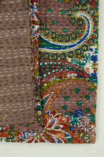 Load image into Gallery viewer, Handstitched cotton Kantha quilt paisley on a chocolate brown background, with highlights in olive green, red, blue, tan and white.