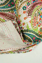Load image into Gallery viewer, Handstitched cotton Kantha quilt paisley on a white background, with highlights in mint green, lime, red, white, and tan