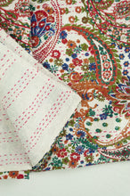 Load image into Gallery viewer, Handstitched cotton Kantha quilt paisley on a white background, with highlights in olive green, emerald, red, navy blue and tan