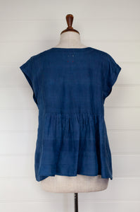 Dve Veena top in handloom naturally dyed silk in natural indigo, one size pin tucked sleeveless with hand stitched details.