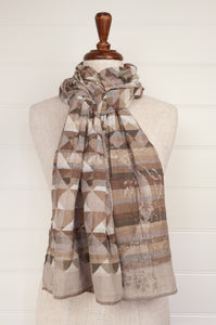 Létol organic cotton jacquard weave scarf Milan geometric Missoni inspired design in sable, sand, taupe, latte, oatmeal and brown.