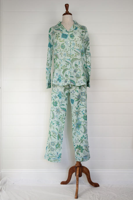 Juniper Hearth cotton voile pyjamas,This Juniper Hearth kimono is screen printed with large aqua, teal and green flowers on a stippled pale blue background.