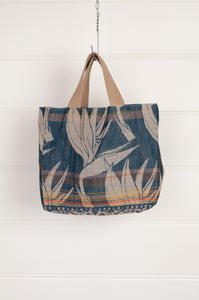 Létol organic cotton made in France jacquard mini tote bag lunch bag, bird of paradise on teal blue on on one side, co-ordinating print on the reverse.