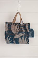 Load image into Gallery viewer, Létol organic cotton made in France jacquard mini tote bag lunch bag, bird of paradise on teal blue on on one side, co-ordinating print on the reverse.