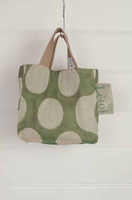Létol organic cotton made in France jacquard mini tote bag lunch bag, ecru dots on olive green on one side, co-ordinating print on the reverse.