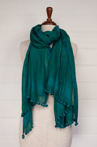 Silk cotton pompom scarf in teal.