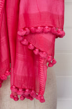 Load image into Gallery viewer, Silk cotton pompom scarf in hot pink.