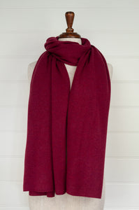 Juniper Hearth pure cashmere scarf in crimson red.