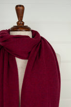 Load image into Gallery viewer, Juniper Hearth pure cashmere scarf in crimson red.