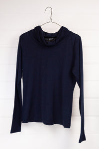Bernie merino cowl in navy is a KT winter classic, loose cowl neck and made from lightweight pure merino jersey, perfect for layering