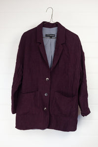 Kimberley Tonkin the Label Norbert oversized jacket blazer in Aubergine 100% high twist linen.