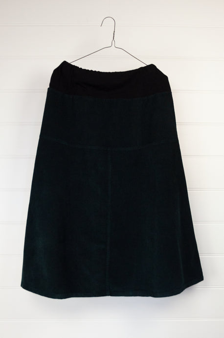 Valia cotton corduroy Four Gores skirt  in black, ethically made in Melbourne.
