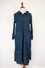 Load image into Gallery viewer, Maku one size Kapota dress in crushed handwoven cotton, deep indigo with black stripe, long sleeve, button bodice and asymmetrical collar.