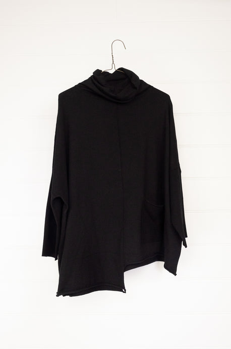 Banana Blue 1836PV poly voly pullover in black, roll neck, easy fit asymmetrical hem and front patch pocket.