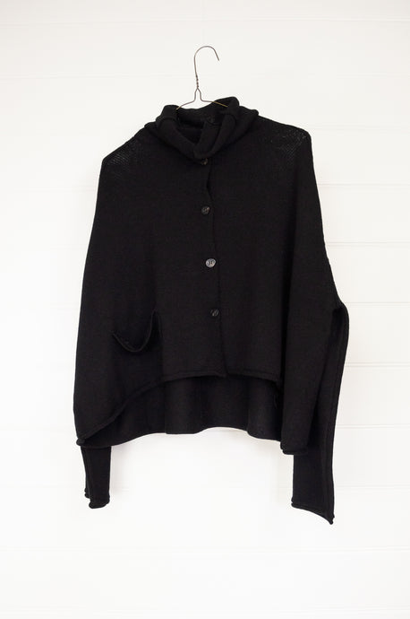 Banana Blue superfine merino cropped cardigan jacket, button up with roll neck collar in black.