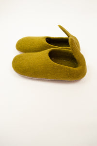 Olive green wool felt slippers, pull on style with tab, fair trade and ethically made in Nepal.