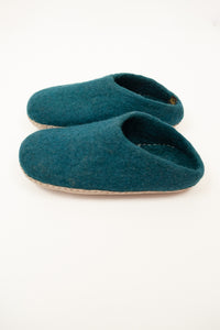 Teal turquoise wool felt slippers, slip on style, fair trade and ethically made in Nepal.