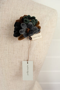 Sophie Digard velvet hand embroidered flower brooch, made by hand, chocolate brown, grey and navy.