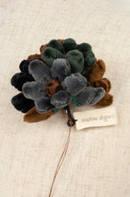 Load image into Gallery viewer, Sophie Digard velvet hand embroidered flower brooch, made by hand, chocolate brown, grey and navy.