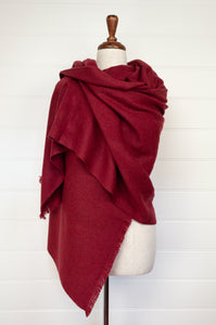 Juniper Hearth baby yak wool handwoven wrap or shawl with fringe on ends, in deep cherry red, 100x200cm.
