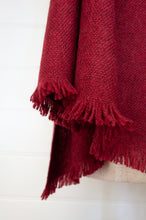 Load image into Gallery viewer, Juniper Hearth baby yak wool handwoven wrap or shawl with fringe on ends, in deep cherry red, 100x200cm.